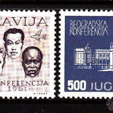 Sellos: YUGOSLAVIA AÉREO 52/53* - AÑO 1961 - CONFERENCIA DE BELGRADO. Lote 43824788