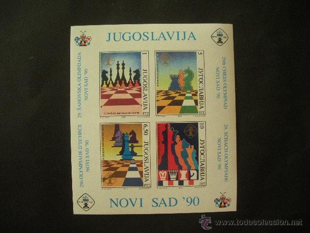 YUGOSLAVIA 1990 HB IVERT 38 *** 29ª OLIMPIADAS DE AJEDREZ EN NOVI SAD - DEPORTES (Sellos - Extranjero - Europa - Yugoslavia)