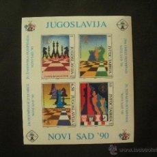 Sellos: YUGOSLAVIA 1990 HB IVERT 38 *** 29ª OLIMPIADAS DE AJEDREZ EN NOVI SAD - DEPORTES. Lote 53338746