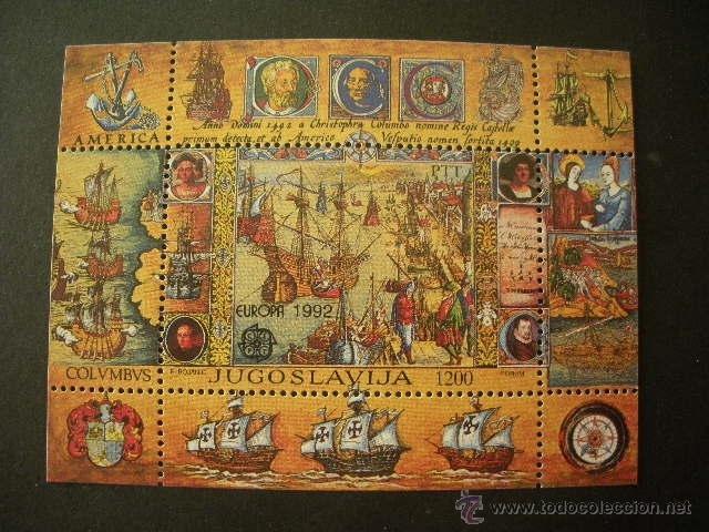 YUGOSLAVIA 1992 HB IVERT 40 *** EUROPA - 500 ANIVERSARIO DEL DESCUBRIMIENTO DE AMERICA (Sellos - Extranjero - Europa - Yugoslavia)