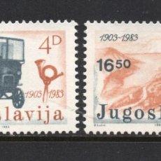 Sellos: YUGOSLAVIA 1872/73** - AÑO 1983 - 80º ANIVERSARIO DEL TRANSPORTE POSTAL POR AUTOMOVIL DE MONTENEGRO. Lote 103657070