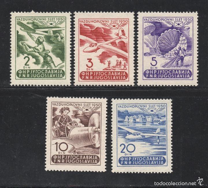 YUGOSLAVIA 1950 AEREO IVERT 27/31 * SEMANA AERONÁUTICA DE RUMA - AVIONES (Sellos - Extranjero - Europa - Yugoslavia)