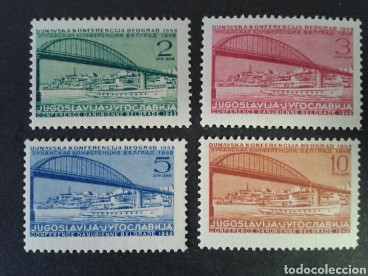YUGOSLAVIA. YVERT 495/8. SERIE COMPLETA NUEVA SIN CHARNELA. 2 SELLOS CON MANCHAS DEL TIEMPO. PUENTES (Sellos - Extranjero - Europa - Yugoslavia)