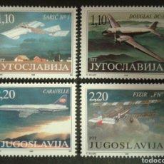 Sellos: YUGOSLAVIA. YVERT 2600/03. SERIE COMPLETA NUEVA SIN CHARNELA. AVIONES. AVIACIÓN. Lote 95717092