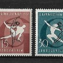 Sellos: YUGOSLAVIA 1957 SEGUNDOS JUEGOS GIMNASTICOS DE ZAGREB. SERIE COMPLETA. Lote 110303795
