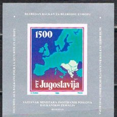 Sellos: YUGOESLAVIA 2299, CONFERENCIA MINISTROS ASUNTOS EXTERIORES PAISES BALCANICOS , HOJA BLOQUE NUEVA **. Lote 140416498