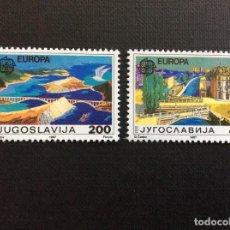 Sellos: YUGOSLAVIA Nº YVERT 2098/9*** AÑO 1988. EUROPA. ARQUITECTURA MODERNA. Lote 140946398