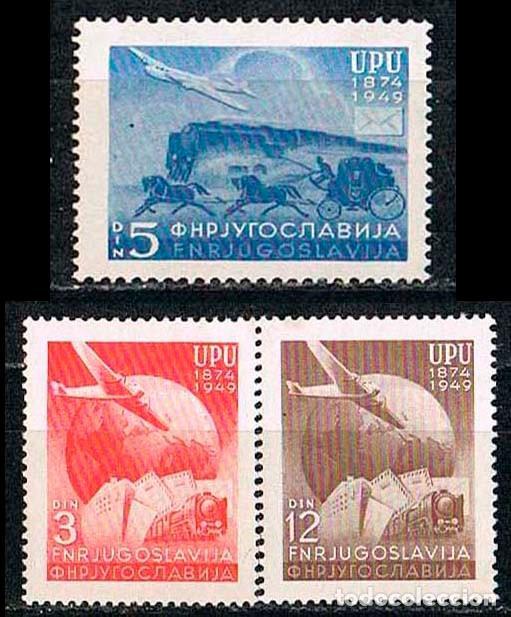 YUGOESLAVIA 611/13, 25 ANIVERSARIO DE LA UPU (UNION POSTAL UNIVERSAL), ÑO 1949, NUEVO *** SERIE COMP (Sellos - Extranjero - Europa - Yugoslavia)