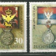 Sellos: YUGOSLAVIA 1991 IVERT 2374/7 *** PIEZAS DE MUSEO - MEDALLAS - CONDECORACIONES MILITARES. Lote 154315014