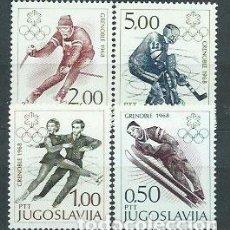 Sellos: YUGOSLAVIA - CORREO 1968 YVERT 1139/42 ** MNH OLIMPIADAS DE GRENOBLE. Lote 157372604
