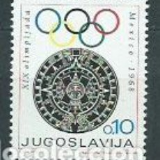 Sellos: YUGOSLAVIA - CORREO 1968 YVERT 1198 ** MNH OLIMPIADAS DE MÉJICO. Lote 157372644