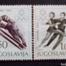 Sellos: YUGOSLAVIA OLIMPIADAS DE INVIERNO GRENOBLE 1968 SERIE DE SELLOS NUEVOS. Lote 179534341