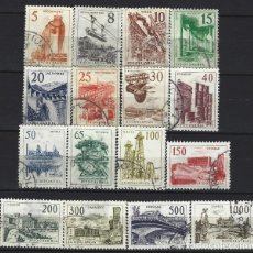 Timbres: YUGOSLAVIA 1961 - SERIE BÁSICA, TECNOLOGIA Y ARQUITECTURA, 16 VALORES - SELLOS USADOS. Lote 181617083