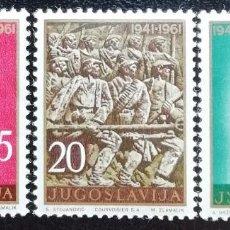 Sellos: 1961. YUGOSLAVIA. 871, 872, 873. 20 ANIV. DE LA LUCHA CONTRA EL FASCISMO. USADO.. Lote 199394923