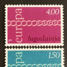 Sellos: YUGOSLAVIA, TEMA EUROPA CEPT AÑO 1971 MNH (FOTOGRAFÍA REAL). Lote 200044887