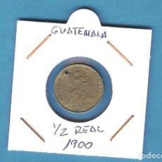 Sellos: GUATEMALA. 1/2 REAL 1900. CUPRONIQUEL. KM#176. PERFORADA. Lote 202109076