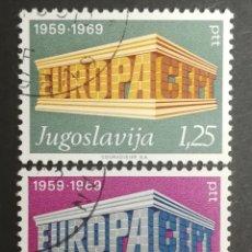 Sellos: YUGOSLAVIA, EUROPA CEPT 1969 USADA (FOTOGRAFÍA REAL). Lote 204114021