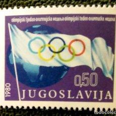 Sellos: YUGOSLAVIA. 1738 RECARGO OBLIGATORIO A FAVOR DE LA SEMANA OLÍMPICA: BANDERA. 1980. SELLOS NUEVOS Y N. Lote 211261214