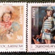 Sellos: YUGOSLAVIA. 2370/71 ALEGRÍA DE EUROPA. CUADROS DE BIJELIC Y CASSALT. 1991. SELLOS NUEVOS Y NUMERACIÓ. Lote 211261241