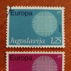 Sellos: YUGOSLAVIA, EUROPA CEPT 1970 USADA (FOTOGRAFÍA REAL). Lote 212639096