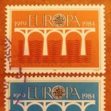 Sellos: YUGOSLAVIA, EUROPA CEPT 1984 USADA (FOTOGRAFÍA REAL). Lote 213698463