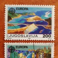Sellos: YUGOSLAVIA, EUROPA CEPT 1987 USADA (FOTOGRAFÍA REAL). Lote 213718927