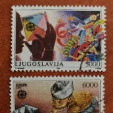 Sellos: YUGOSLAVIA, EUROPA CEPT 1989 USADA (FOTOGRAFÍA REAL). Lote 213727158