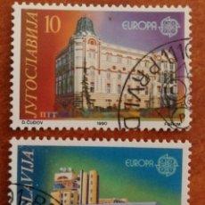 Sellos: YUGOSLAVIA, EUROPA CEPT 1990 USADO (FOTOGRAFÍA REAL). Lote 213731803
