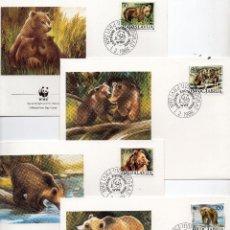 Sellos: YUGOESLAVIA SERIE SOBRES PRIMER DIA 1988 MICHEL 2260 A 2263 WWF. Lote 215512916