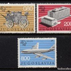 Sellos: YUGOSLAVIA 1429/31** - AÑO 1974 - CENTENARIO DE LA UNION POSTAL UNIVERSAL - AVIONES. Lote 217925258