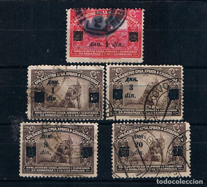 REINO DE LOS SERBIOS CROATAS Y ESLOVENOS 1922 LOTE 5 SELLOS SOLDADO HERIDO, SOBREIMPRESION (Sellos - Extranjero - Europa - Yugoslavia)