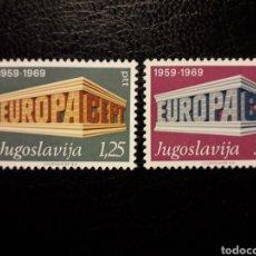 Timbres: YUGOSLAVIA YVERT 1252/3 SERIE COMPLETA NUEVA ***. EUROPA CEPT 1969.. Lote 224562147