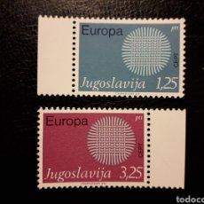 Sellos: YUGOSLAVIA YVERT 1269/70 SERIE COMPLETA NUEVA ***. EUROPA CEPT 1970.. Lote 224633851