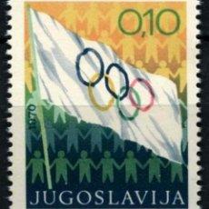 Sellos: YUGOSLAVIA 1970 IVERT 1280 *** BANDERA OLIMPICA - DEPORTES. Lote 236174575