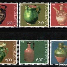 Sellos: YUGOSLAVIA 1976 IVERT 1541/6 *** PIEZAS DE MUSEOS - CERÁMICA POPULAR. Lote 236178815