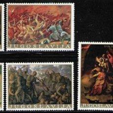 Sellos: YUGOSLAVIA 1976 IVERT 1555/60 *** CUADROS DE PINTORES YUGOSLAVOS - PINTURA. Lote 236180230