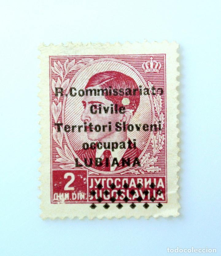 SELLO POSTAL YUGOSLAVIA 1941 ,0,50 DIN, REY PETER II OVERPRINT OCUPACION LUBIANA, TRANSFER, SIN USAR (Sellos - Extranjero - Europa - Yugoslavia)