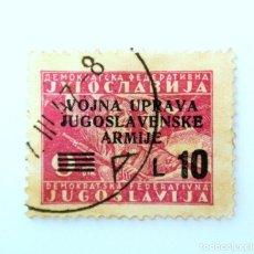 Sellos: SELLO POSTAL YUGOSLAVIA - OCUPACION YUGOSLAVIA 1947 ,10 LIRA, OVERPRINT EJÉRCITOS MILITARES, USADO. Lote 243627645