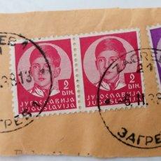 Sellos: YUGOSLAVIA. 3 SELLOS PEGADOS A TROZO DE CARTA, MATASELLOS: ZAGREB, 1938. Lote 252650450