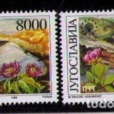 Sellos: YUGOSLAVIA 1989 - FLORES - YVERT Nº 2248-2249**. Lote 262545780