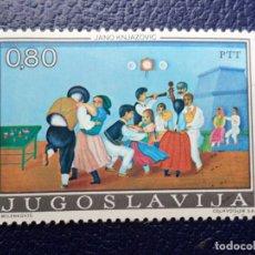 Sellos: -YUGOSLAVIA, 1974, ARTE NAIF YUGOSLAVO, YVERT 1454. Lote 289665503