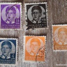 Sellos: YUGOSLAVIA 1935 - 1936 - YUGOSLAVIA - REINO - REY PEDRO II 5 SELLOS USADOS. Lote 291437973