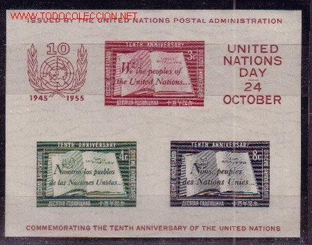 NACIONES UNIDAS NEW YORK HB 1*** - AÑO 1955 - 10º ANIVERSARIO DE LAS NACIONES UNIDAS (Sellos - Extranjero - América - Otros paises)
