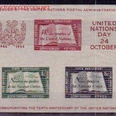 Sellos: NACIONES UNIDAS NEW YORK HB 1*** - AÑO 1955 - 10º ANIVERSARIO DE LAS NACIONES UNIDAS. Lote 11090041