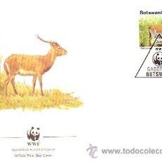 Sellos: WWF SERIE COMPLETA SOBRES OFICIALES PRIMER DIA BOSTWANA. Lote 8970899