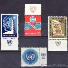 Sellos: NN.UU. NUEVA YORK 141/4 CON BANDELETA SIN CHARNELA, ESLOGAN, CARTA, SEDE, EMBLEMA DE LA O.N.U.. Lote 10306049