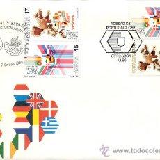 Sellos: ESPAÑA Y PORTUGAL 1986. MATASELLOS ESPECIALES. INGRESO EN LA UE. Lote 11543385