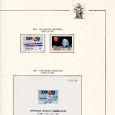 Sellos: .EXPO 92 1987 AL 1992 EN HOJAS FILABO Y GUADALQUIVIR TRANSPARENTES Y TAPA PLASTICO. Lote 75546450