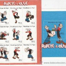 Sellos: CINE / COMIC.- NIGER - POPEYE Y OLIVIA .- 2 HB / HOJAS - AÑO 1998. Lote 24008896