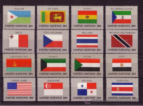NACIONES UNIDAS NEW YORK 341/56*** - AÑO 1981 - BANDERAS DE LOS PAISES MIEMBROS (Sellos - Extranjero - América - Otros paises)